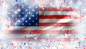USA flag with fireworks background for 4 july independence day Stock Images