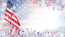 USA flag with fireworks background for 4 july independence day Stock Photos