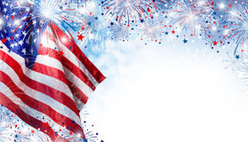 USA flag with fireworks background for 4 july independence day Royalty Free Stock Photos