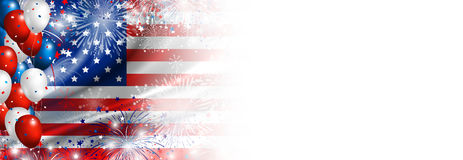 USA flag with fireworks and balloon background. For 4 july independence day Stock Images
