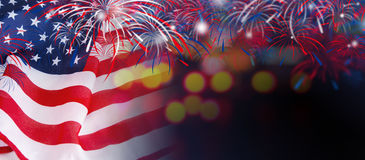 USA flag with fireworks on bokeh background Stock Photography