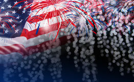 USA flag with fireworks on bokeh background Royalty Free Stock Photos