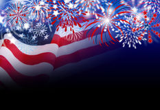 USA flag with fireworks design on black background. With copy space Stock Images