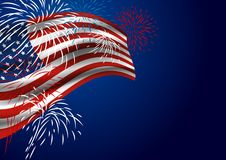 USA flag with fireworks at night. With copy space Royalty Free Stock Photos