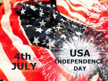 USA flag with fireworks on white background royalty free stock image