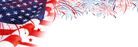 USA flag with fireworks Stock Images