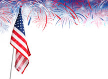 USA flag with fireworks on white background. With copy space Royalty Free Stock Images