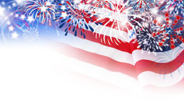 USA flag with fireworks on white background. With copy space Royalty Free Stock Photography