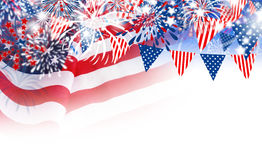 USA flag with fireworks on white background. With copy space Stock Photography