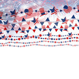 USA flag with fireworks on white background for independence day. Or other celebration Stock Image