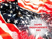 USA flag with fireworks on white background stock photography