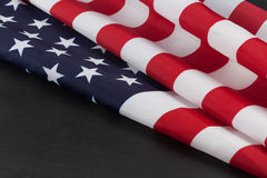 USA flag folds on chalkboard with copy space Stock Photography