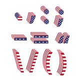 USA flag font textured 3d letter punctuation marks Royalty Free Stock Image