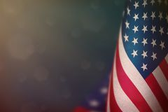 Free USA Flag For Honour Of Veterans Day Or Memorial Day. Glory To The USA Heroes Of War Concept On Light Blue Dark Velvet Background. Stock Image - 125091471