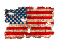 USA flag in form of torn vintage paper. On white background with clipping path Stock Image