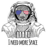 Usa flag glasses American flag United states flag Bull, bison, ox wearing space suit Wild animal astronaut Spaceman Royalty Free Stock Image