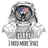 Usa flag glasses American flag United states flag Wild tiger wearing space suit Wild animal astronaut Spaceman Galaxy Stock Illustration
