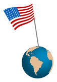 USA Flag with globe Stock Image