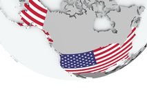 USA with flag on globe Royalty Free Stock Images