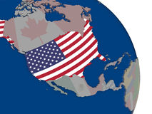 USA with flag on globe. USA with embedded national flag on globe. Highly detailed 3D illustration with accurate flag colors and country borders Stock Images