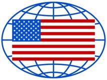 USA flag on globe Royalty Free Stock Photos