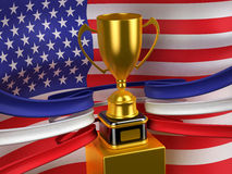 USA flag with gold cup Royalty Free Stock Photo