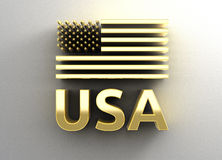 USA flag - gold 3D quality render on the wall background with so Stock Photography