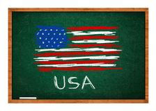 USA flag on green chalkboard Royalty Free Stock Images