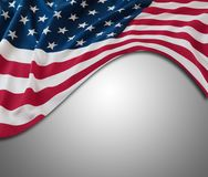 USA flag on grey. Closeup of American flag on grey background Stock Photos