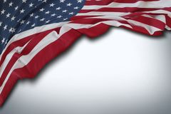 USA flag on grey. Closeup of American flag on grey background Stock Photography