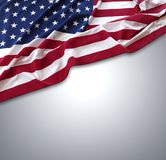 USA flag on grey. Closeup of American flag on grey background Royalty Free Stock Photography