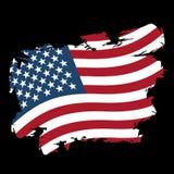 USA flag grunge style on black background. Brush strokes and ink Stock Image