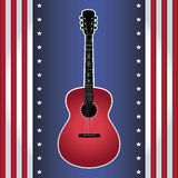 USA flag guitar. Vector illustration of acoustic red guitar on USA flag style background. Square format Royalty Free Stock Photo