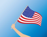 USA flag in hand Stock Photography
