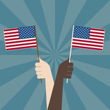 USA Flag with Hands Stock Photography