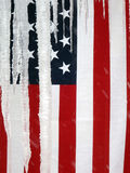 USA Flag Hanging Behind Icicles Royalty Free Stock Photography