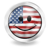 USA Flag Happy Icon Design Stock Photos