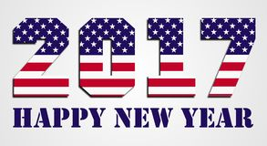 USA flag 2016 Happy New Year. 2017 Happy New Year wish with USA flag pattern Royalty Free Stock Photo