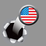 USA flag icon coming out of hole Royalty Free Stock Photo