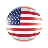 USA flag icon in the form of a ball. vector eps 10.  stock illustration