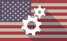 USA flag icon with gears. Illustration of an USA flag icon with a gears Stock Photos