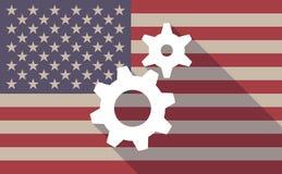 USA flag icon with gears Stock Photos