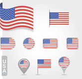 USA flag icon set Stock Photos