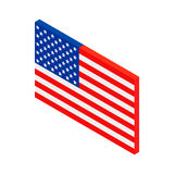 USA flag isometric 3d icon. On white background Royalty Free Stock Photo