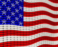 USA Flag jewelry background ornament design. Made from seed beads Royalty Free Stock Photography