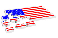 USA flag jigsaw puzzle Royalty Free Stock Photo