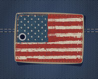 USA flag on label on jeans Stock Images