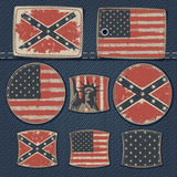 USA flag on label on jeans Stock Image