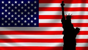 USA Flag with Lady Liberty Royalty Free Stock Photo