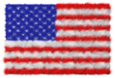 USA flag made from fur. Isolated on white Royalty Free Stock Photo